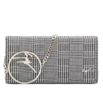 Tartan clutch with metal signature BECKY
