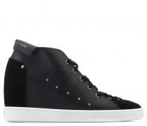 Black calfskin leather wedge sneaker GEA