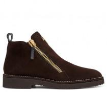 Brown suede shoe with zip AUSTIN