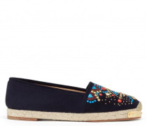 Blue suede espadrilles with embroideries GIPSY