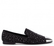 Black suede loafer with crystals DAVID