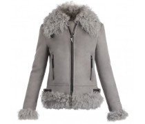 Grey suede jacket with lamp fur CAROLA