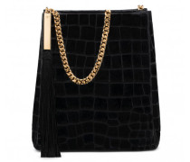 Black crocodile embossed patent leather bag ILENIA