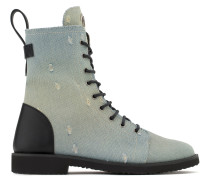 Denim and black leather boot ARDELL