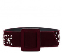 Burgundy velvet belt with crystals THE DAZZLING BEZZIE