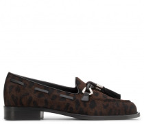 Leopard calf hair loafers with tassels JEAN-PIERRE