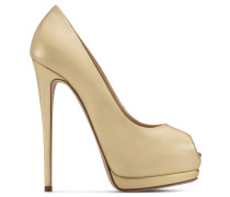 Gold leather open-toe pump SHARON