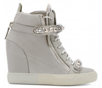 Giuseppe for Jennifer Lopez: Grey suede and calfskin wedge sneaker TIANA