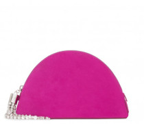 Fuchsia suede clutch with crystal zipper pull JUDITTE