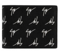 Fabric wallet with white signature motif THE SIGNATURE