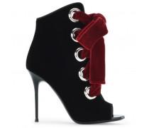 Black velvet boot with grommet details and velvet laces JEANNINE