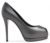 Silver patent leather open-toe pump SHARON
