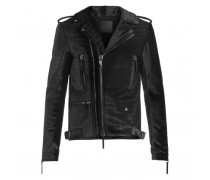 Black crocodile embossed velvet jacket KIAN