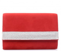 Red suede bag with Swarovskiヤ crystals DESIRE'