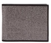Black suede wallet with grey metal studs BLAKE