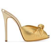Gold laminated leather mule sandal BRIDGET