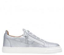 Silver printed leather low-top sneaker FRANKIE