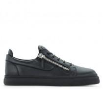 Black leather glitter low-top sneaker FRANKIE