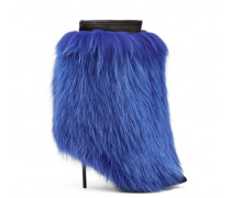 Black suede boot with blue fur embellishment DESIA