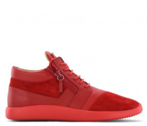 Red fabric high-top sneaker with zips RAUL