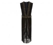 Black suede vest with fringes DEMI