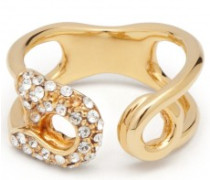 Gold-tone brass ring with crystals SIAN