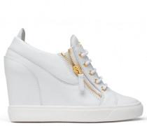 White calfskin mid-wedge sneaker SONYA