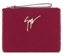 250x200 mm burgundy suede clutch with signature logo MARGERY