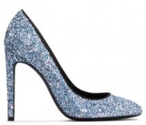 Blue fabric pump with glitter ANNETTE GLITTER