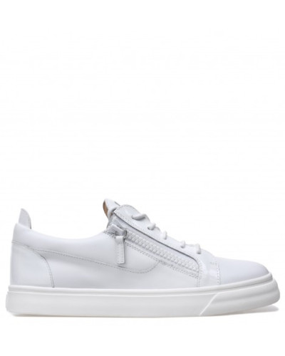 White calfskin leather low-top sneaker FRANKIE