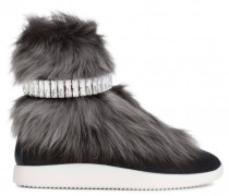Grey fur high-top sneaker with crystal strass MARLY