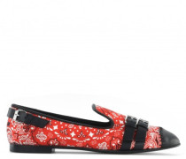 Red printed nappa loafers with buckles details ORSON