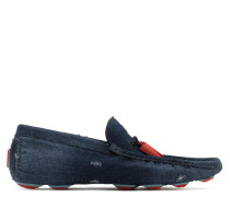 Denim loafer with metal 'shark tooth' KENT