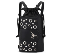 Leather bag / backpack with metal eyelets GWEN