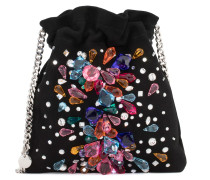 Suede clutch with multicolour crystals BLINDA
