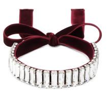 Burgundy velvet necklace with crystals strass KAYLA