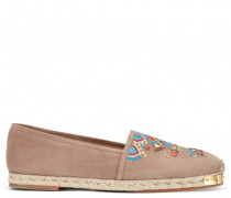 Beige suede espadrilles with embroideries GIPSY