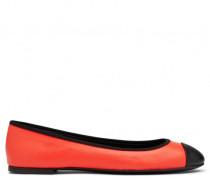 Orange calfskin leather ballerina flat ELENA