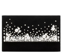 Suede clutch with pearls and crystals VANESSA