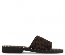 Leopard calf hair sandal with logo and studs FREDRIK