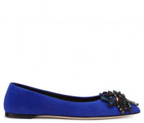 Blue suede ballerina flat with embroidery LUCILLA