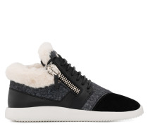 Fabric and leather low-top sneaker with faux-fur RUNNER