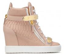 Embossed-crocodile leather wedge sneaker JENNIFER