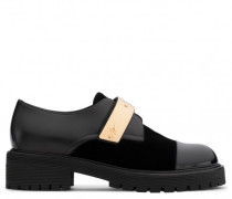 Black leather shoe with gold metal strap ABIGAIL