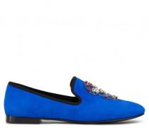 Blue suede loafer SKULL