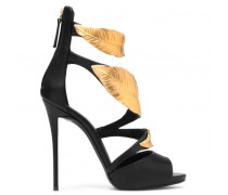 Black calfskin sandals with leaves accessory DEA HIGH