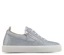 Python-embossed leather low-top sneaker GAIL