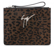 250x200 mm leopard calf hair clutch MARGERY