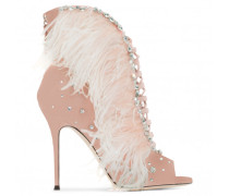 Pink suede boot with feathers CHARLESTON