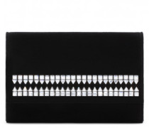 Black suede clutch with crystals ELLIS